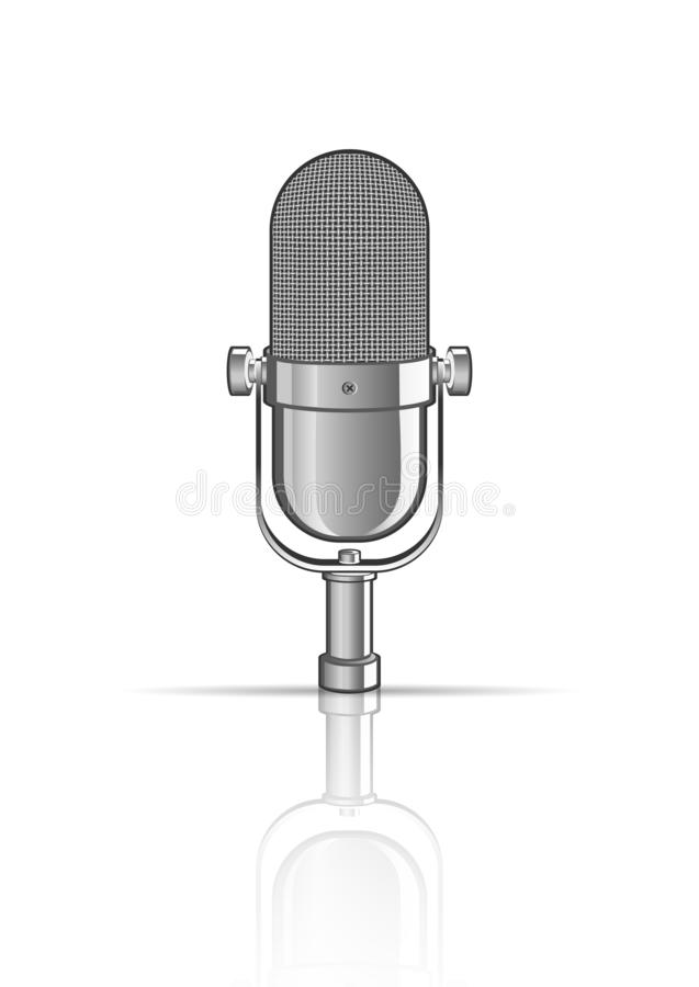 Vintage microphone isolated on white vector illustration