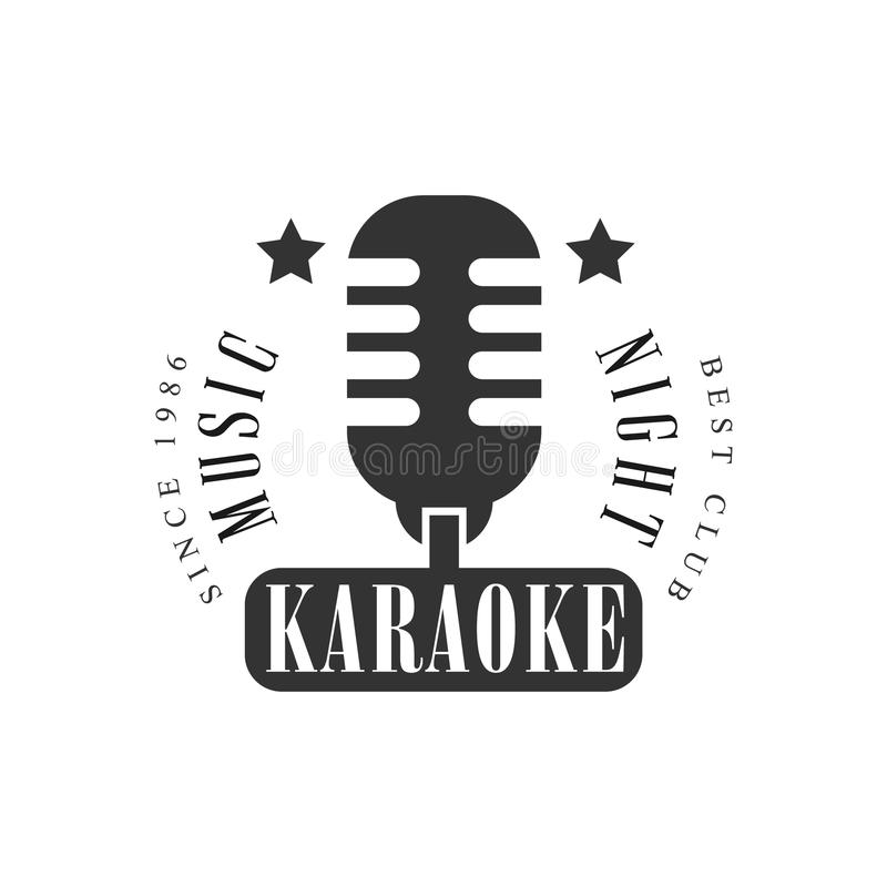 Vintage Microphone Karaoke Premium Quality Bar Club Monochrome Promotion Retro Sign Vector Design Template. Black And White Illustration With Music Related royalty free illustration