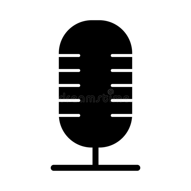 Vintage microphone line style vector illustration. Icon isolated on white vector illustration