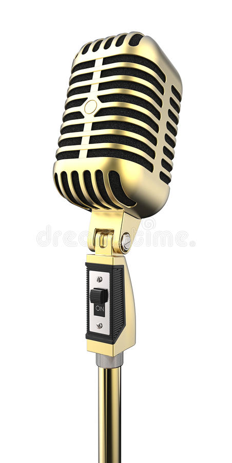 Vintage microphone. Vintage metal microphone isolated on white royalty free illustration