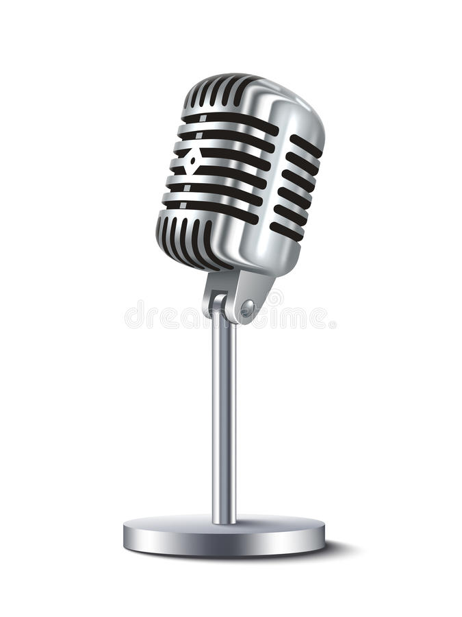 Vintage Microphone. Vintage metal studio microphone on white background vector illustration stock illustration