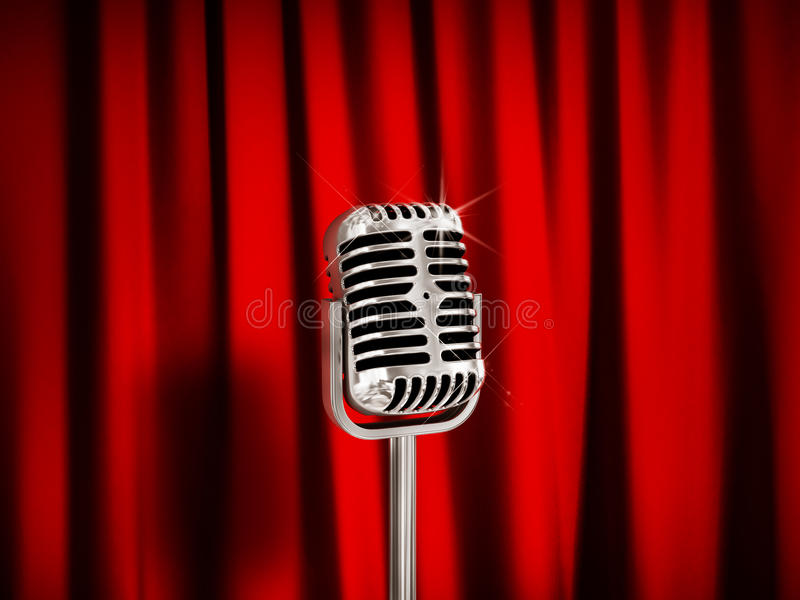 Vintage Microphone over Red Curtains. stock images