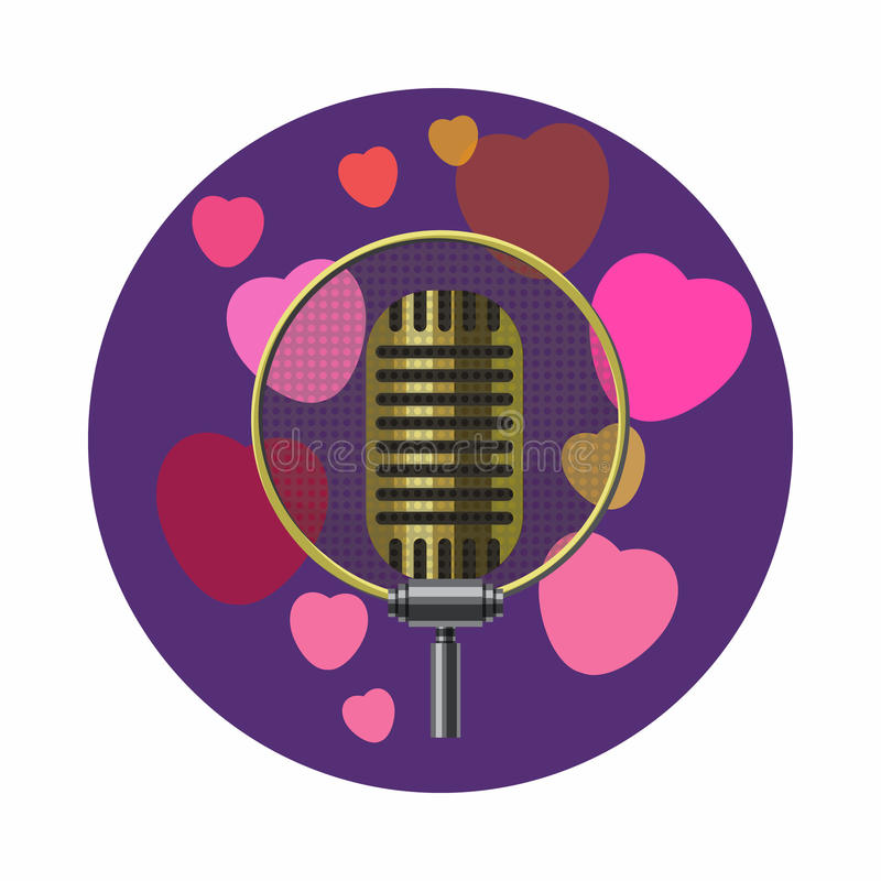 Vintage microphone and pink hearts icon. In cartoon style on a white background stock illustration