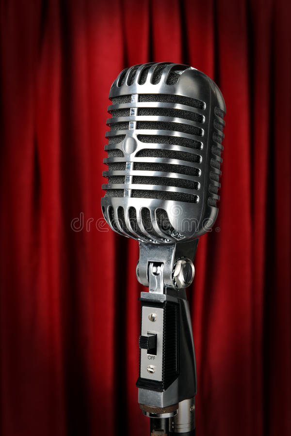 Download Vintage Microphone With Red Curtain Stock Image - Image: 15875015
