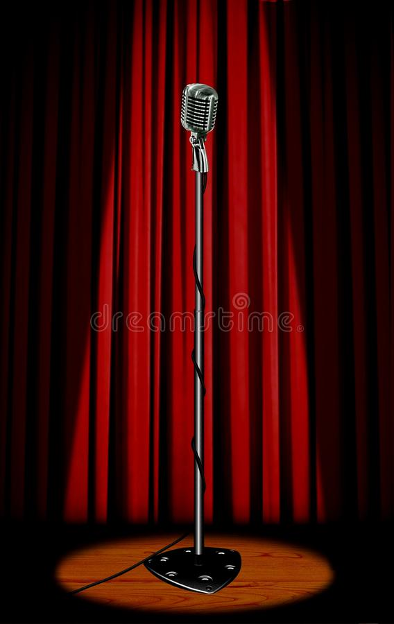 Vintage microphone with red curtain stock photography