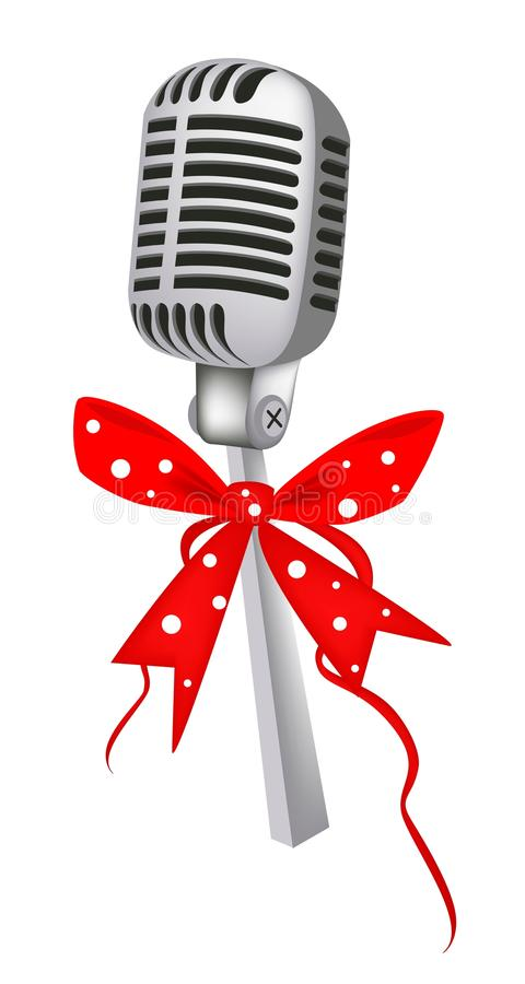 Vintage Microphone with Red Ribbon. Microphone in Vintage Style with Red Ribbon and Bow, A Perfect Gift or Present for Someone Special stock illustration