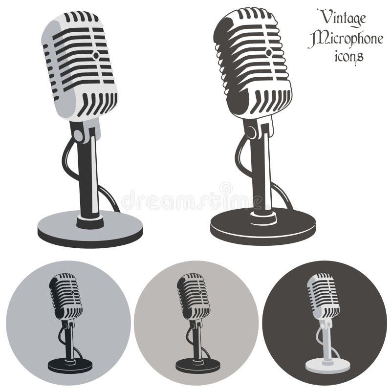 Vintage microphone. Retro icons set - vector illustration vector illustration