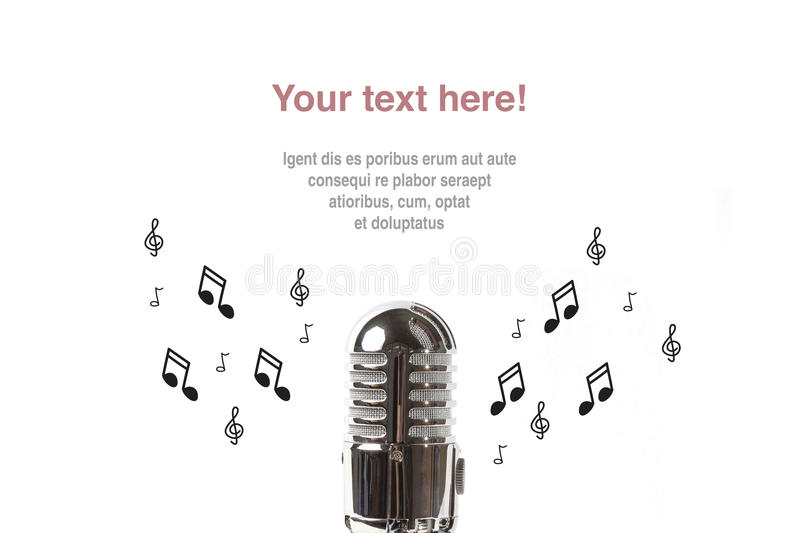 Vintage microphone with sheet music. On white background royalty free stock photos