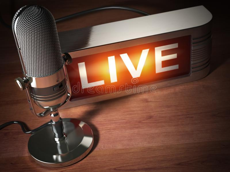 Vintage microphone with signboard live. Broadcasting radio station concept. 3d illustration stock illustration