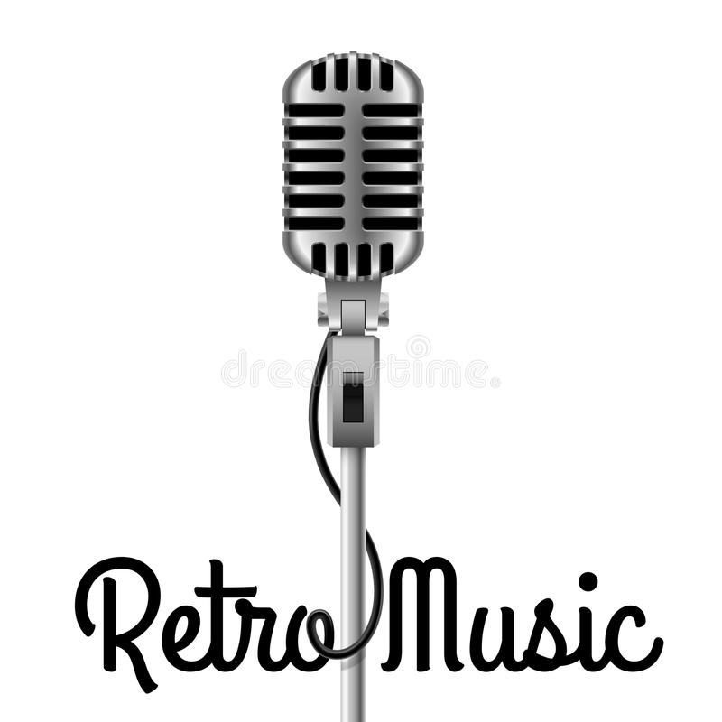 Vintage Microphone. Vintage silver metallic microphone on white background royalty free illustration