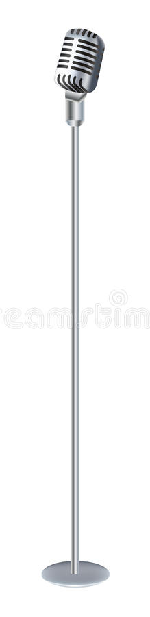 Vintage microphone with stand. A Vintage microphone with stand vector illustration