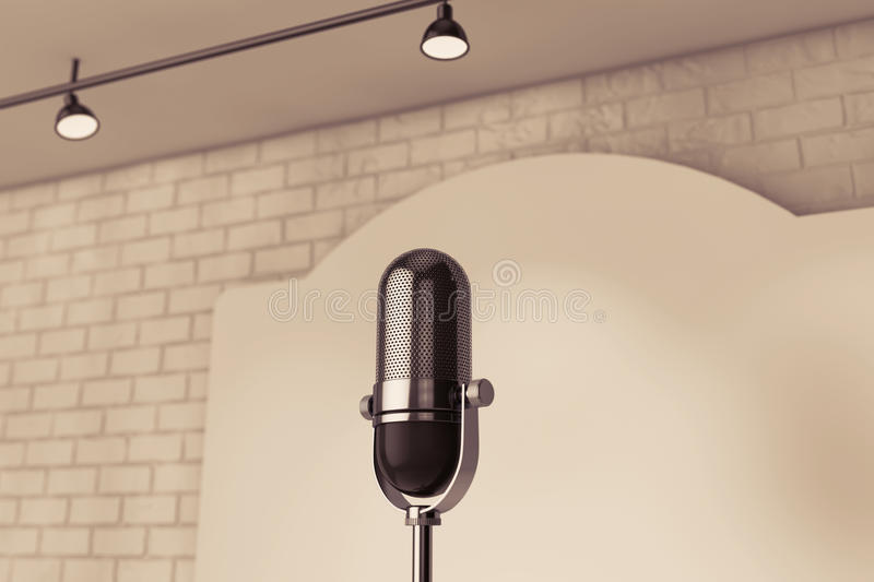 Vintage Microphone standing on an empty stage. Extreme closeup vector illustration