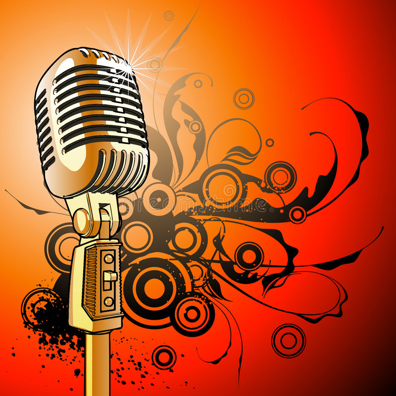 Vintage Microphone - vector royalty free stock images