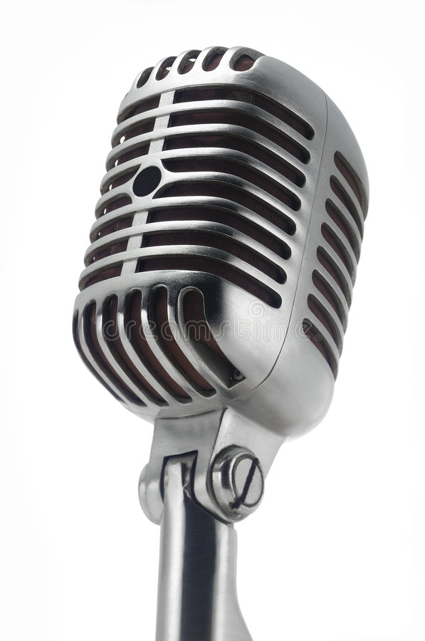 Vintage Microphone on white stock images