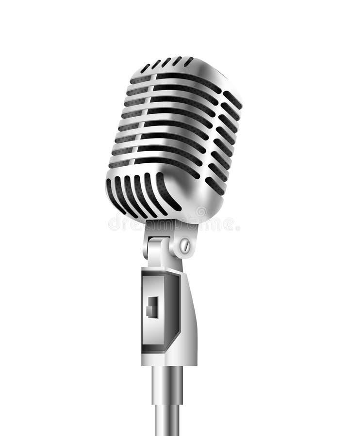 Vintage Microphone on white background. Vintage Microphone on isolated white background. Vector illustration vector illustration