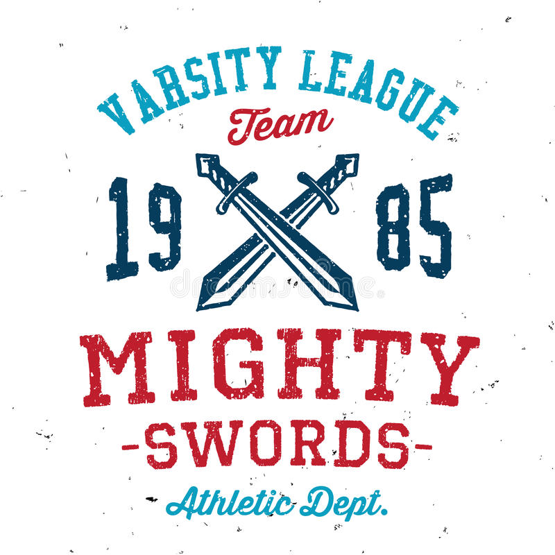 Vintage mighty swords varsity apparel design vector illustration