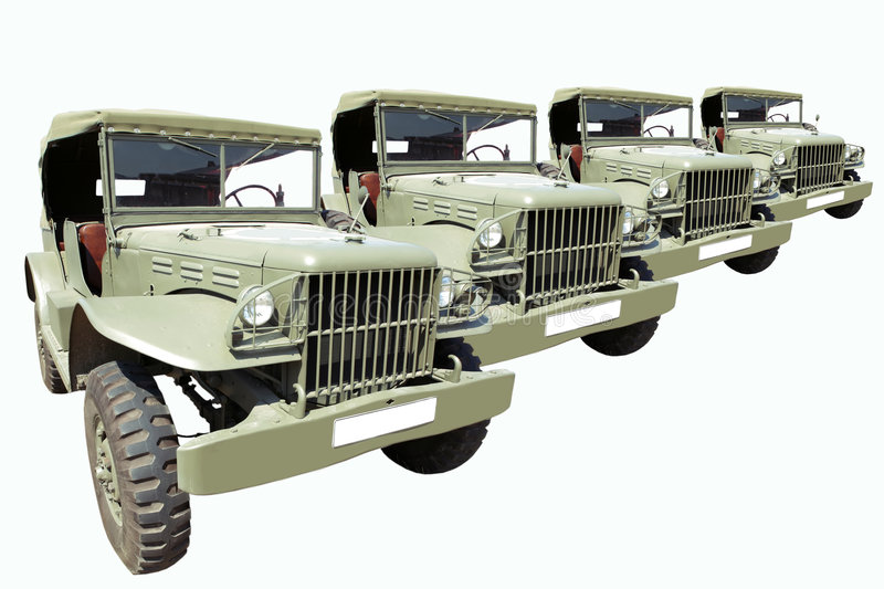 Download Vintage Military Cars 40's In Row Royalty Free Stock Photography - Image: 3594347