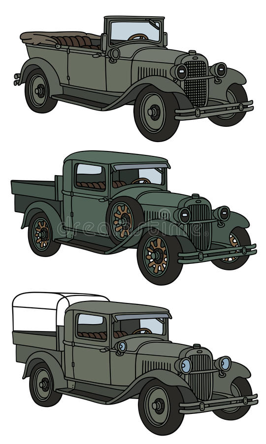 Vintage military cars stock vector. Illustration of delivery - 57489116
