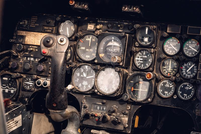 Vintage military helicopter control panel. Close-up view stock photography