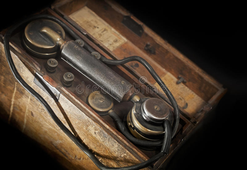 Download Vintage military telephone stock image. Image of close - 25279347