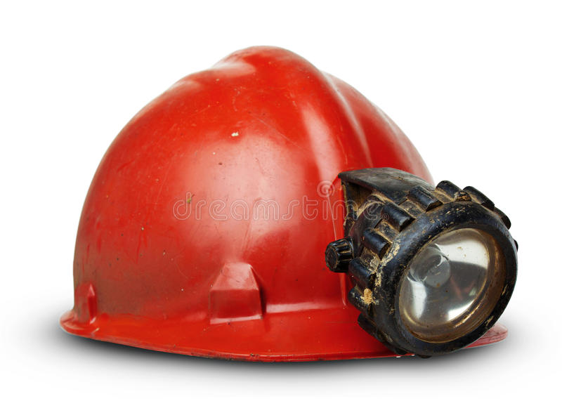 Vintage miners helmet with lamp royalty free stock images
