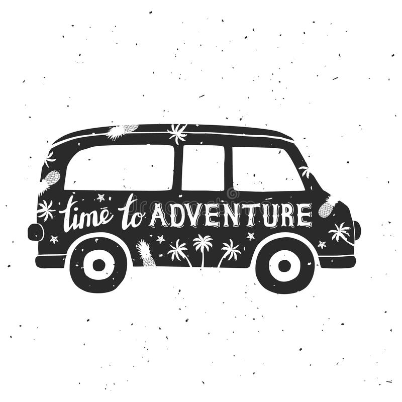 Vintage mini van with lettering. Time adventure. Can be used as a greeting card or t-shirt. Vector Illustration stock illustration