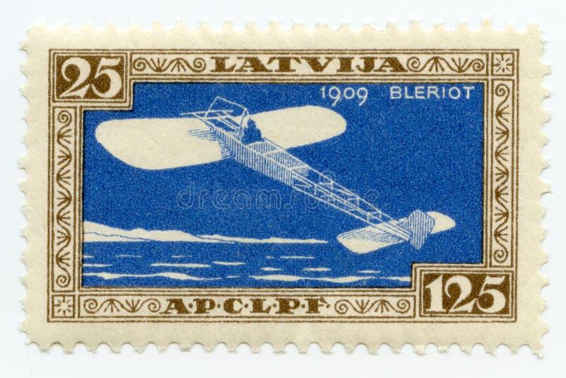 Vintage mint Latvia airmail stamp 1932 Bleriot monoplane stock photos