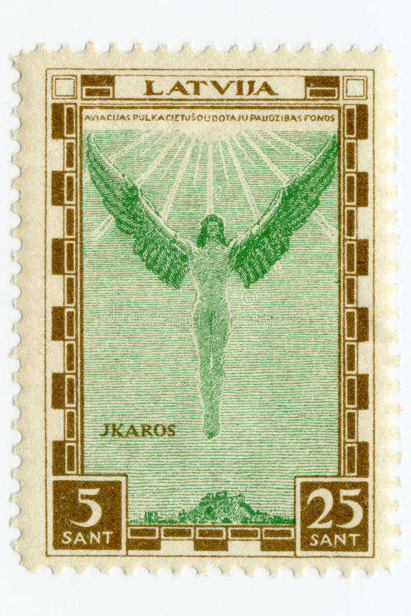 Vintage mint Latvia airmail stamp 1932 Icarus royalty free stock photo