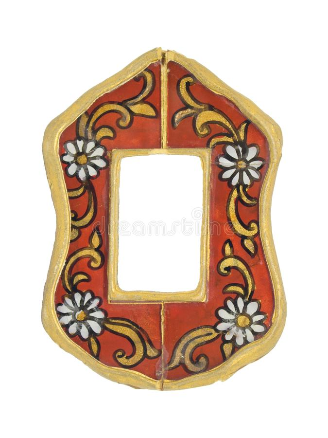 Vintage mirror, frame, in a rural style, on an isolated background. Red frame with white flowers and gold curls, shabby, cracked royalty free stock photos