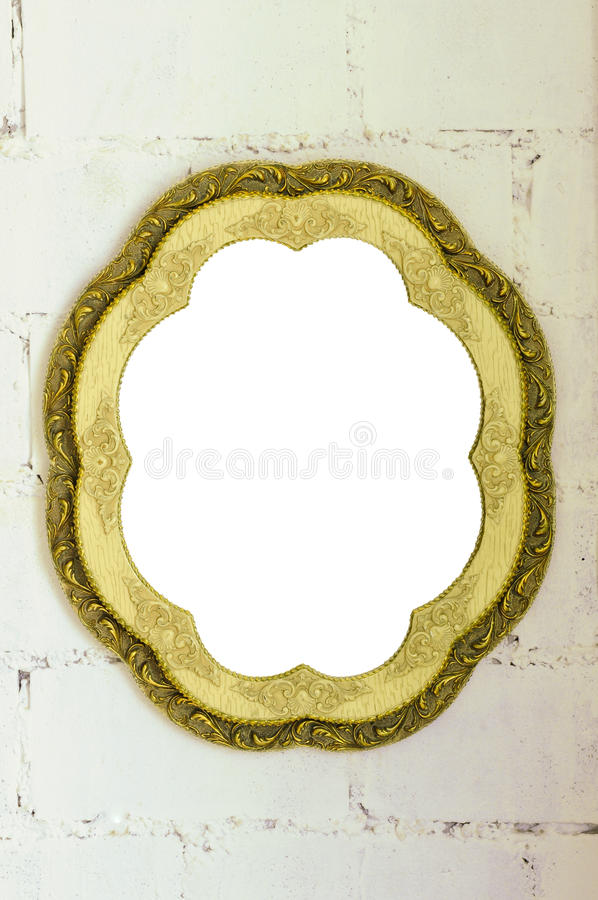Vintage mirror frame on white wall royalty free stock images
