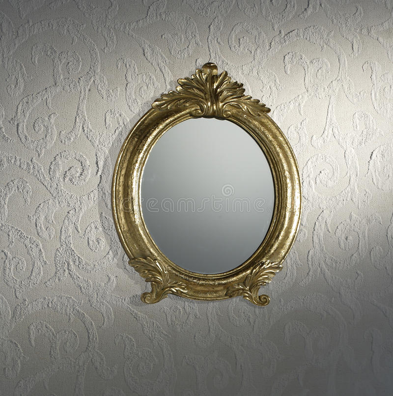 Vintage mirror on wall stock photos