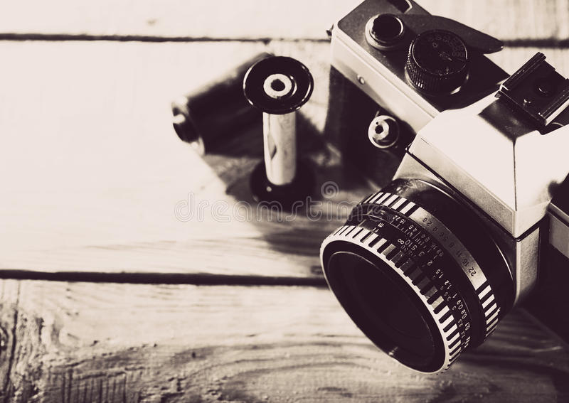 Vintage 35 mm film photo camera royalty free stock image