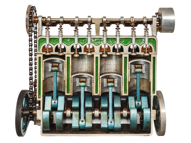 Vintage model of a classic car engine royalty free stock image