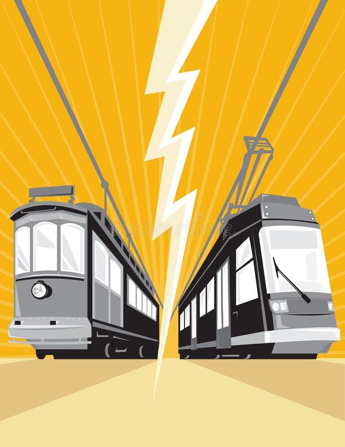 Vintage and Modern Streetcar Tram Train royalty free illustration