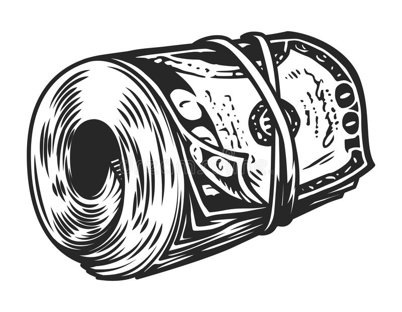 Vintage money roll template. With one hundred dollars banknotes isolated vector illustration royalty free illustration