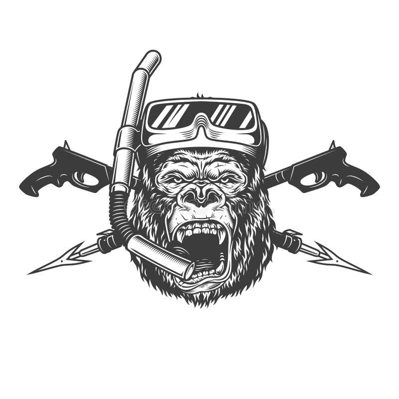 Vintage monochrome angry gorilla diver head vector illustration