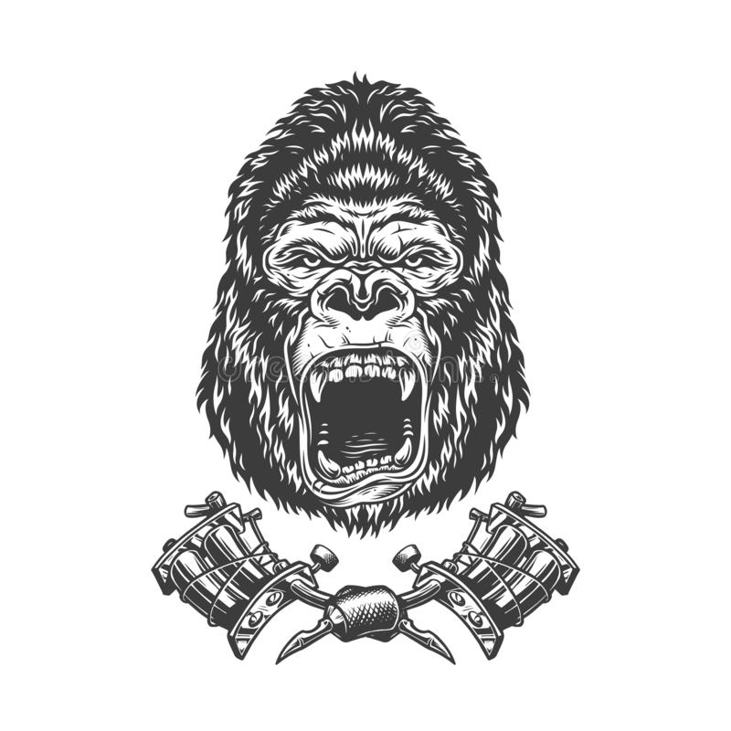 Vintage Angry Chef Gorilla Head Stock Vector