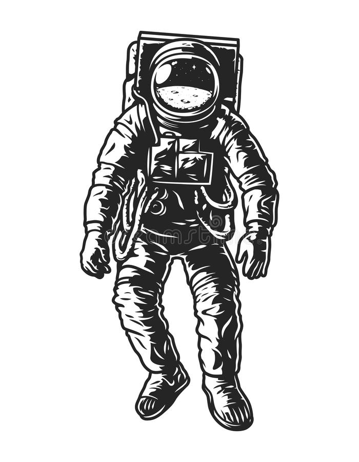 Vintage monochrome astronaut concept. In space suit isolated vector illustration vector illustration