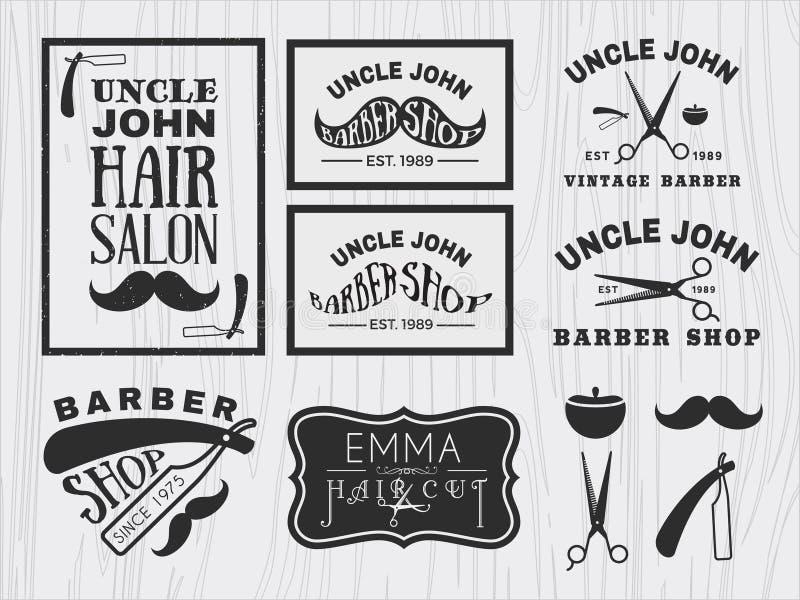 Vintage monochrome barber shop logo royalty free illustration