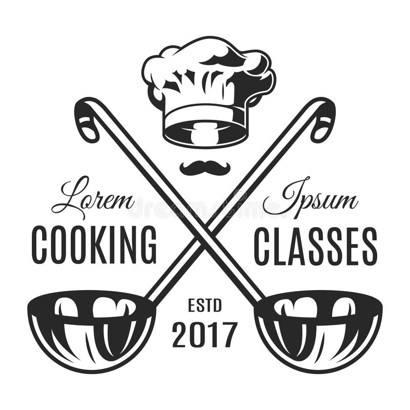 Vintage monochrome cooking classes logotype royalty free illustration