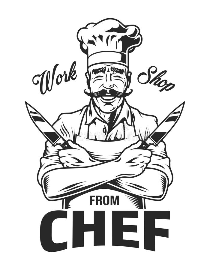 Vintage monochrome cooking logo vector illustration