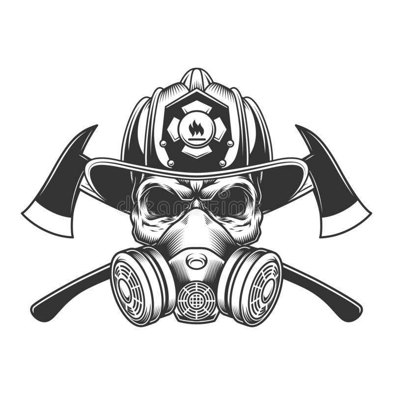 Vintage monochrome firefighter skull. In fireman helmet and gas mask with crossed axes isolated vector illustration stock illustration