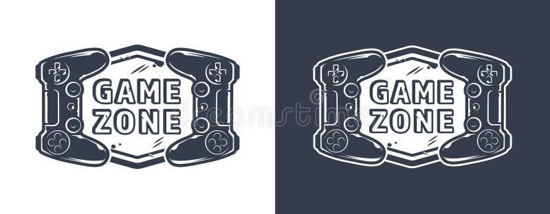 Vintage monochrome game zone logotype vector illustration