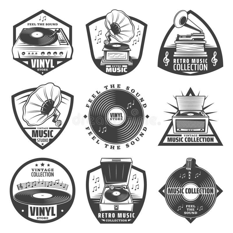 Vintage Monochrome Gramophone Labels Set stock illustration