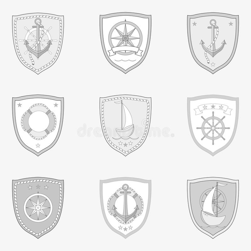 Vintage monochrome marine labels set with ships vessels boats steering wheel anchor navigational compass isolated vector royalty free stock photo