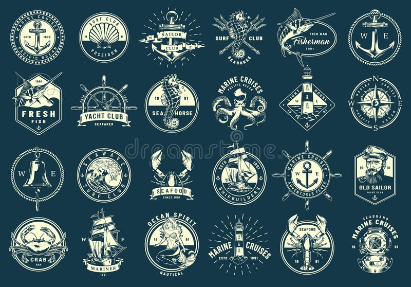 Vintage monochrome maritime emblems set stock illustration