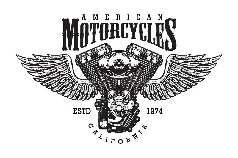 Vintage monochrome motorcycle emblem stock illustration