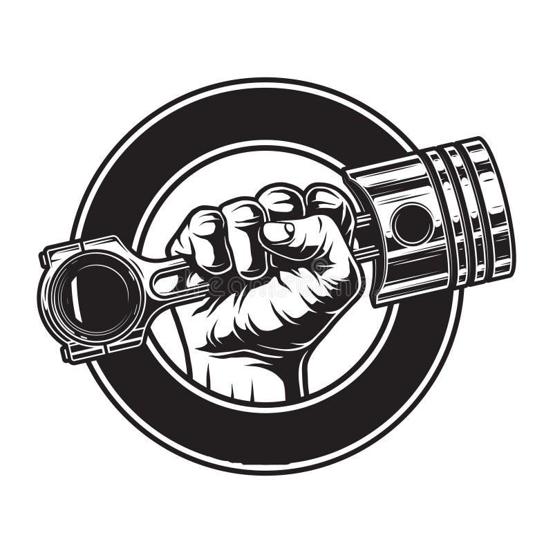 Vintage monochrome motorcycle label stock illustration