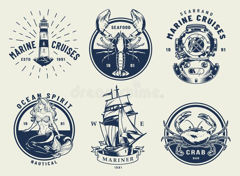 Vintage monochrome nautical emblems set. With inscriptions lighthouse crab lobster diving helmet ship mermaid isolated vector illustration vector illustration