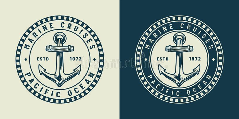 Vintage monochrome nautical round logo concept. With metal anchor and inscriptions isolated vector illustration vector illustration
